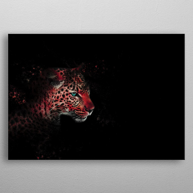 Colourful picture of a leopard. metal poster