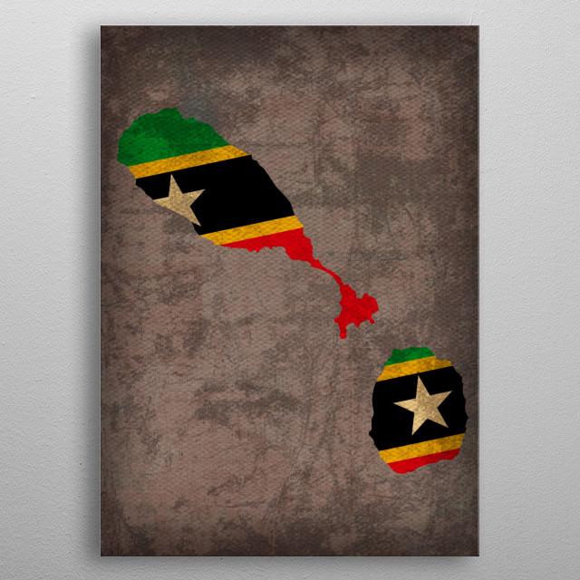 St Kitts Nevis Flag Map metal poster