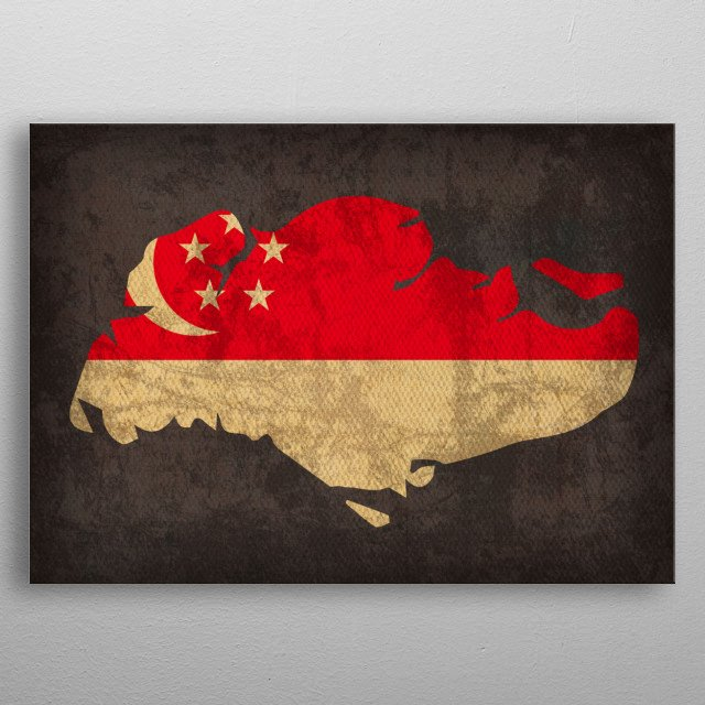 Singapore Country Flag Map metal poster