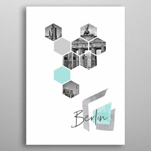 Cityscapes from Berlin in geometric shapes. Discover Kaiser Wilhelm Memorial Church, Brandenburg Gate, Berlin Cathedral and Television Tower metal poster
