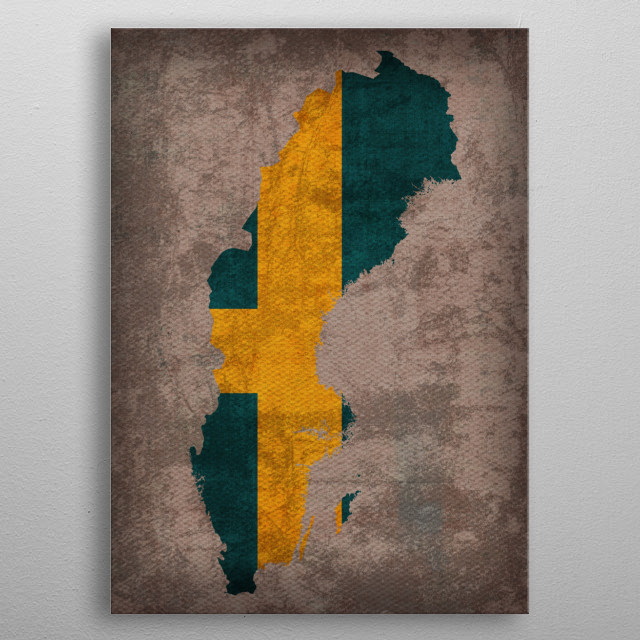 Sweden Country Flag Map metal poster