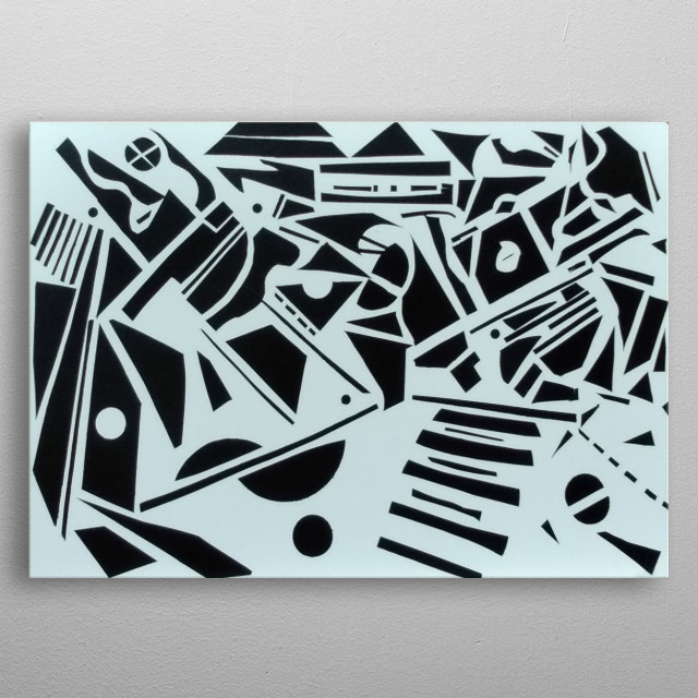 Hand cut vinyl on white board metal poster