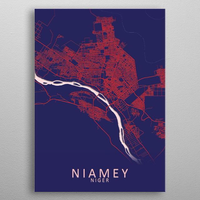 Niamey Niger City Map metal poster