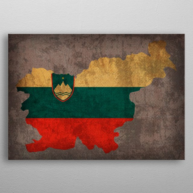 Slovenia Country Flag Map metal poster