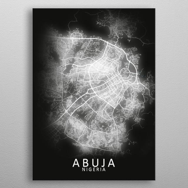 Abuja Nigeria City Map metal poster