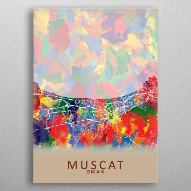 Muscat Oman City Map metal poster
