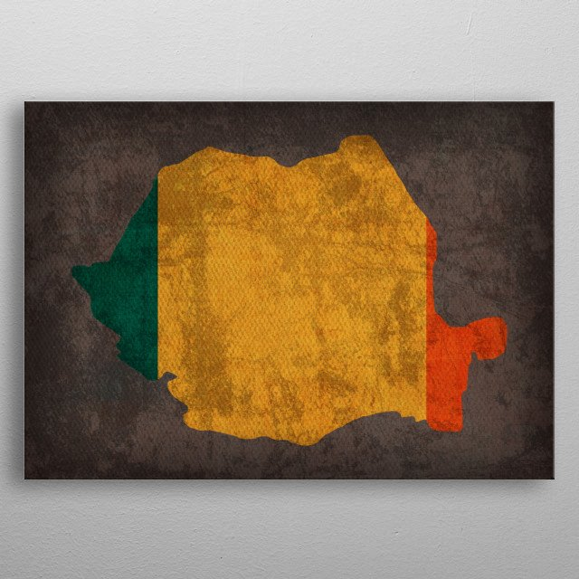 Romania Country Flag Map metal poster