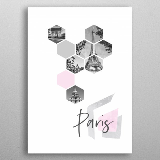 Cityscapes from Paris in geometric shapes showcase perfectly each single moment. Discover Arc de Triomphe, Eiffel Tower and Les Invalides. metal poster