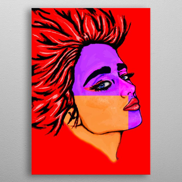 Illustration of girl inspired with pop art, futuristic style, with strong lighting with different colors to express her face.  metal poster