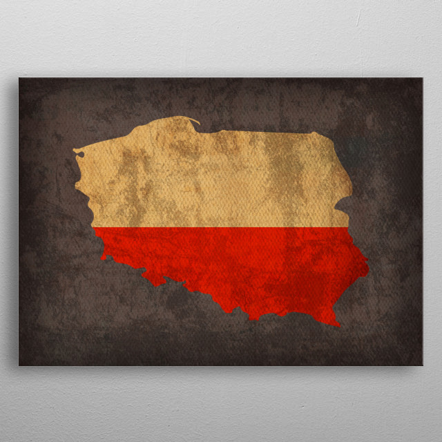 Poland Country Flag Map metal poster