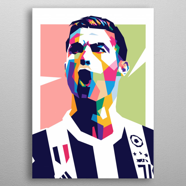 Cristiano Ronaldo dos Santos Aveiro, OIH or better known Cristiano Ronaldo is a Portuguese soccer player. He currently plays for Juventus.  metal poster