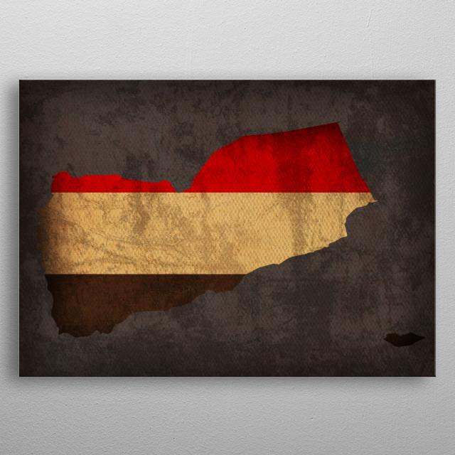Yemen Country Flag Map metal poster