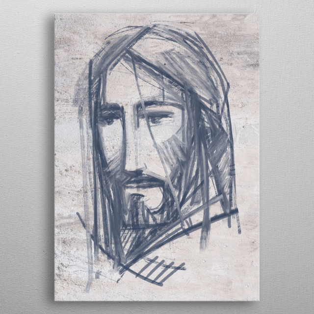 Hand drawn illustration or drawing of Jesus Christ Face metal poster