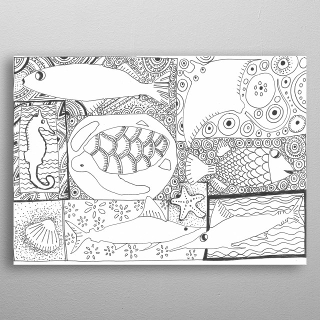 INK DRAWING WITH ANIMALS SILHOUETTE metal poster