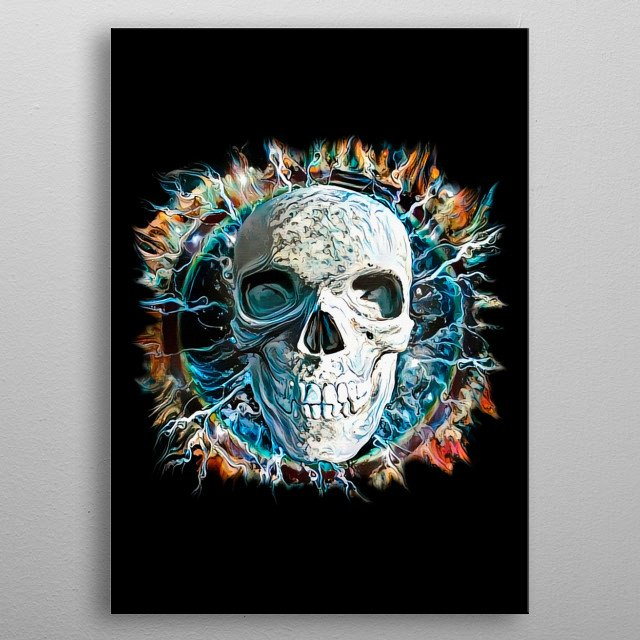 Skull design with lightnings and ring of fire metal poster