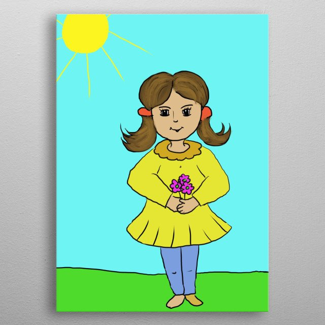This is a girl with purple flowers metal poster