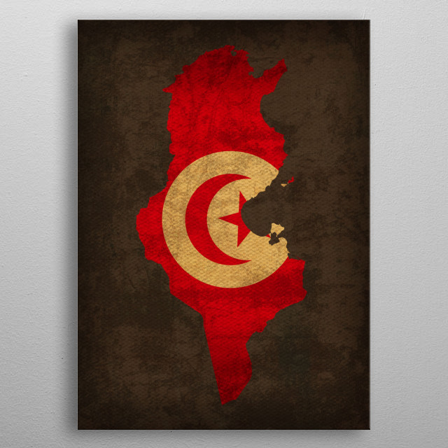 Tunisia Country Flag Map metal poster