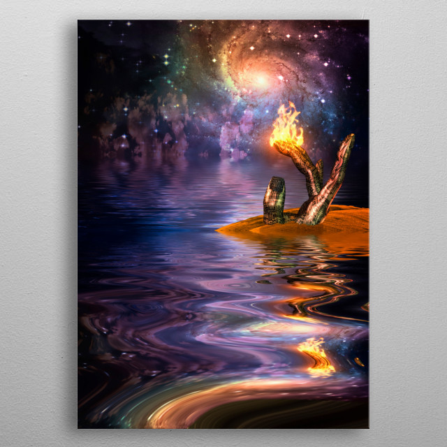 Flame burns on sculpture of cyborg's hand in watery landscape metal poster