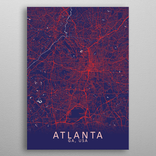 Atlanta GA USA City Map metal poster