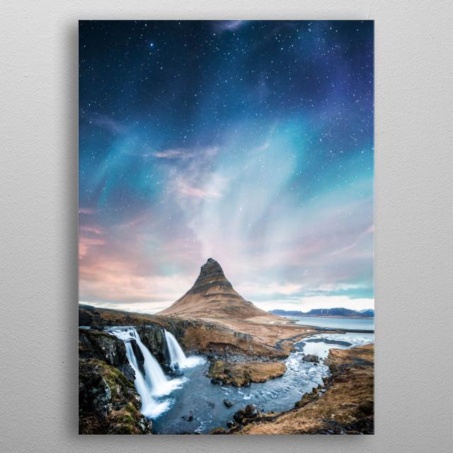 Aurora at Night metal poster