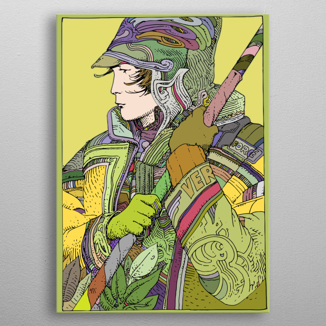 Artwork inspired by the science fiction of  french artist Moebius. metal poster