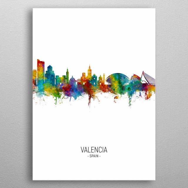 Watercolor art print of the skyline of Valencia, Spain metal poster