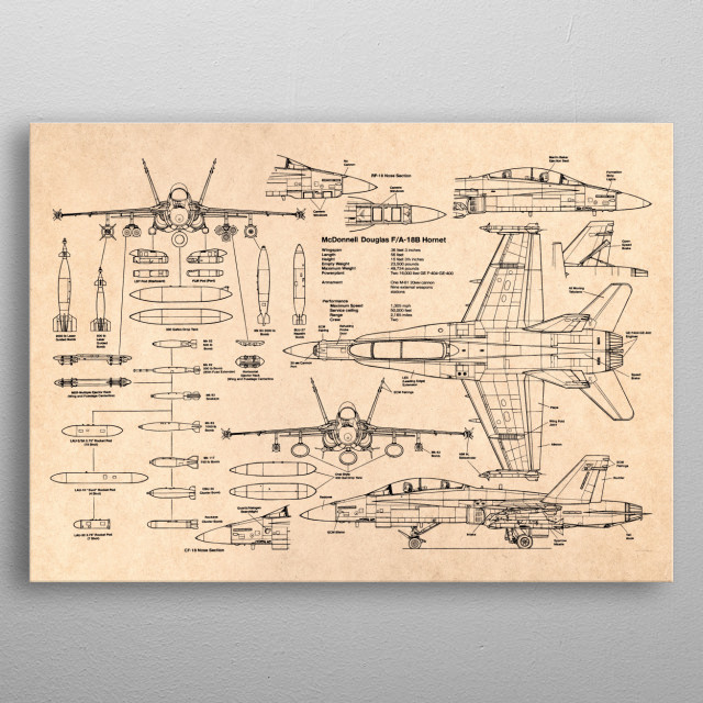 F-18 fighter military metal poster