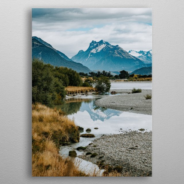 Mountain view at Glenorchy, New Zealand metal poster