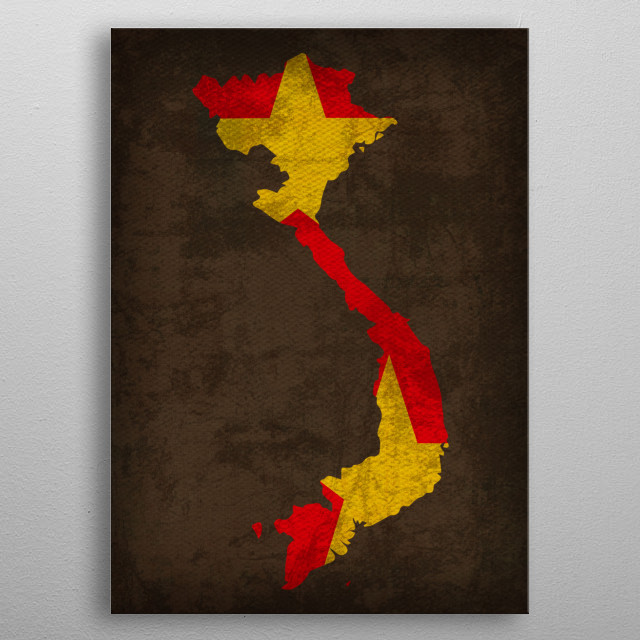 Vietnam Country Flag Map metal poster