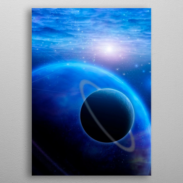Atmosphere and planets in open space metal poster