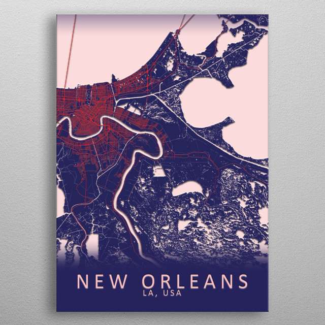 New Orleans USA City Map metal poster