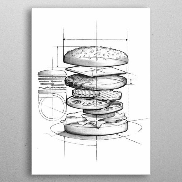 Fast Food Draw By Art Vison : Burger plan , blueprint ,  prepare metal poster