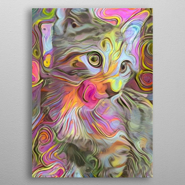 Modern painting in soft pastel colors. Kitty cat metal poster