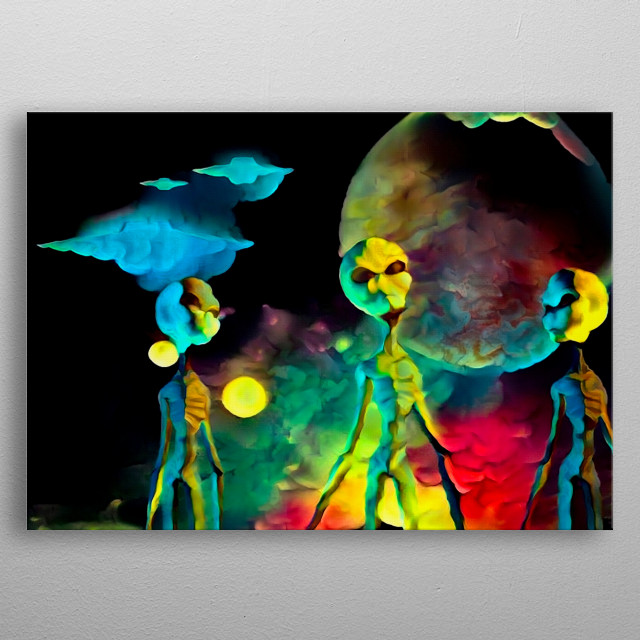 Colorful surreal painting. Three aliens. Flying saucers in the sky metal poster