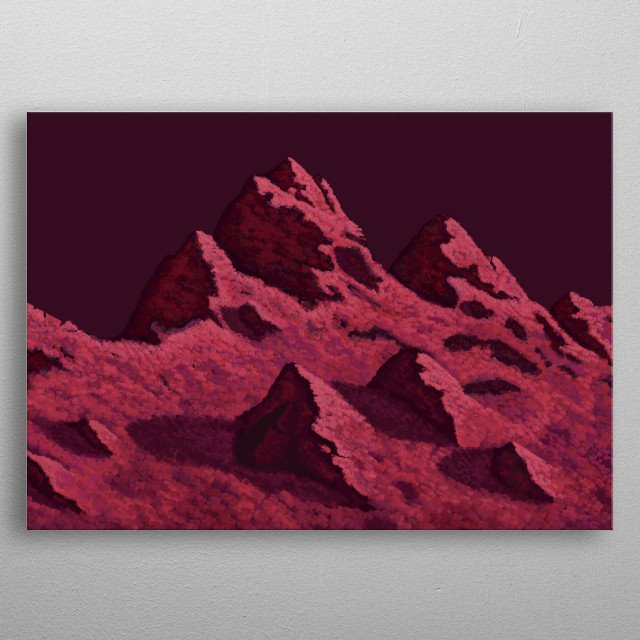 Impressionist approach to mountains on sunset metal poster