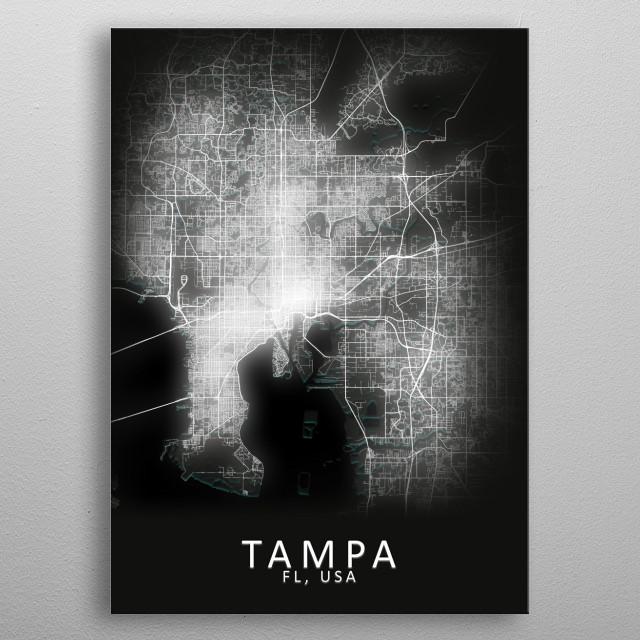 Tampa FL USA City Map metal poster