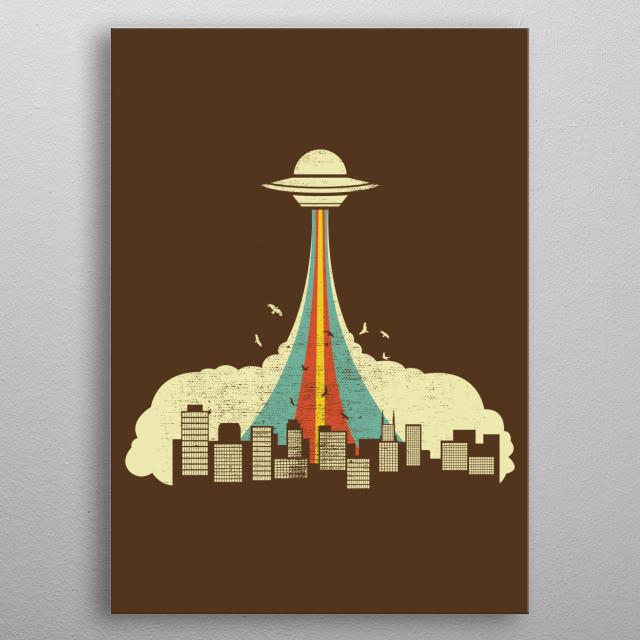 UFO Vector Art metal poster