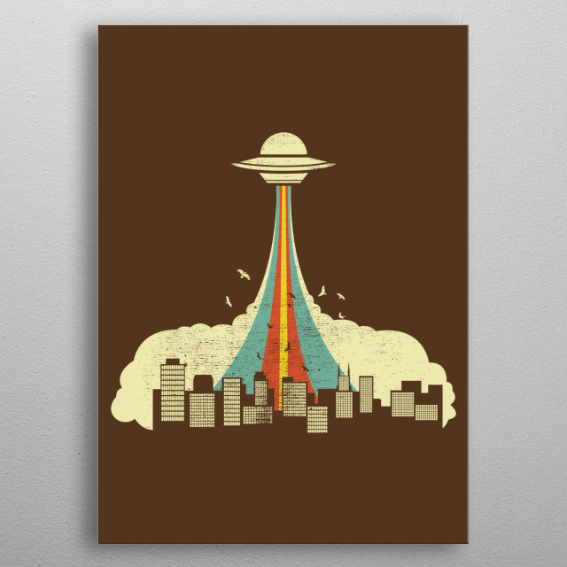 UFO Vector Art metal poster