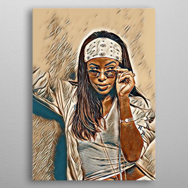 R&B singer Aaliyah metal poster