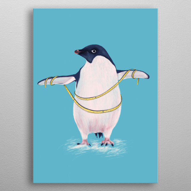 Fat penguin funny illustration - digital drawing of an Adelie penguin wrapping a sewing meter around its belly, preparing to go on a diet. metal poster
