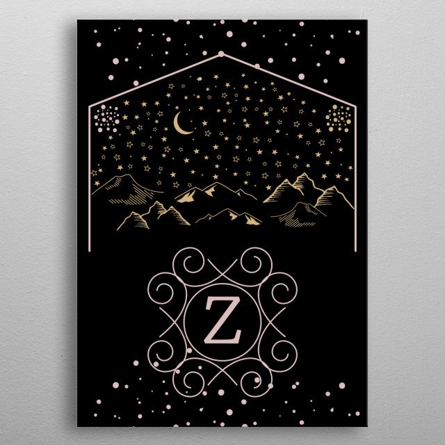 Name Initial Starry Night Theme from my Monogram Series metal poster