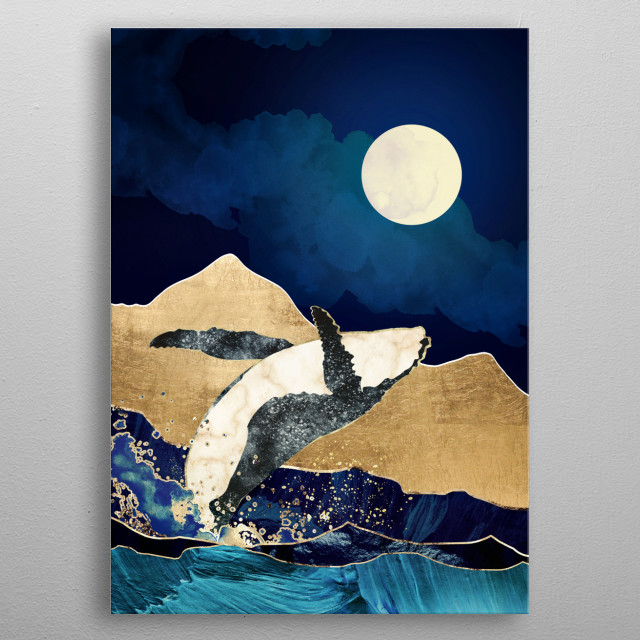 Abstract landscape depicting a whale breaching with gold, blue and clouds metal poster