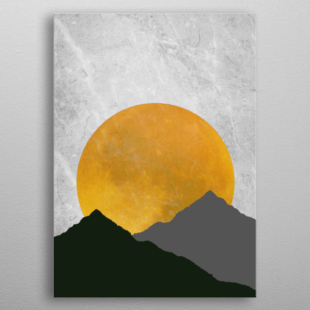 Sunset in the mountains inspired by Scandinavian art.  metal poster