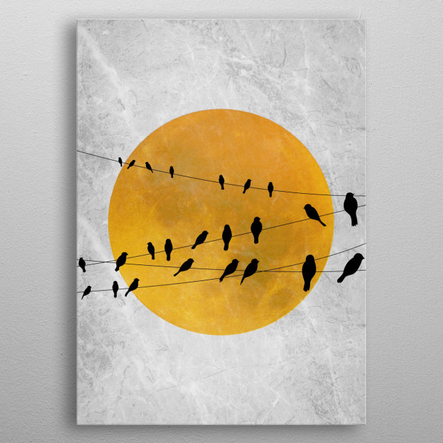 Gathering of birds with sun at the background.  metal poster