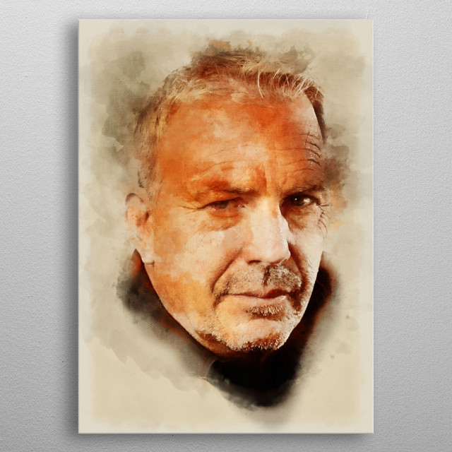 Portrait of Kevin Costner in watercolors and pencil metal poster