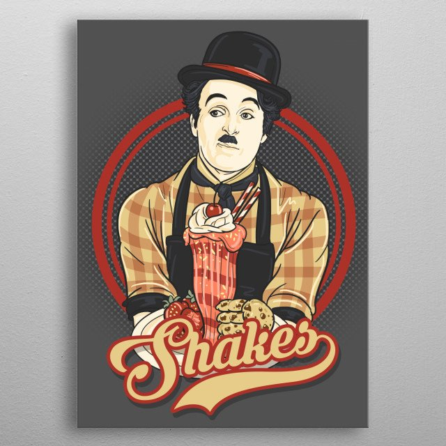 illustration based from vintage posters. This one features Charlie Chaplin presenting  a milkshake. metal poster