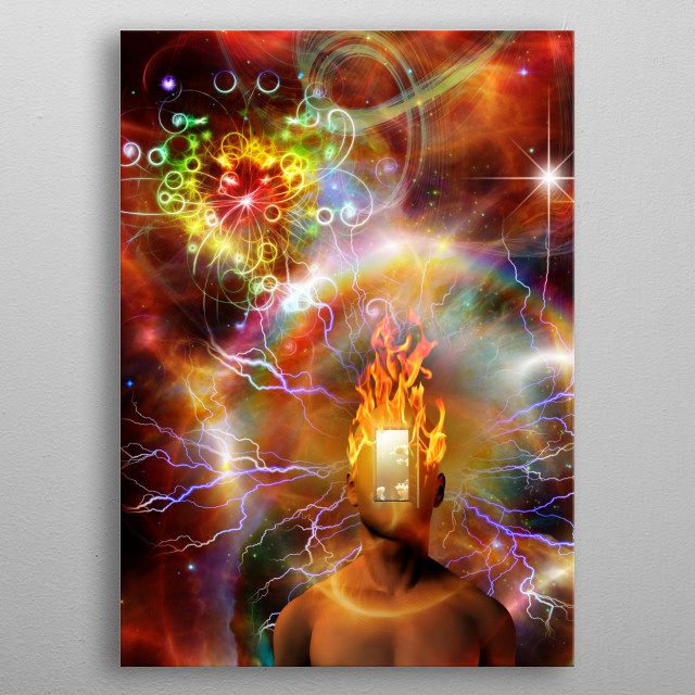 Burning mind in cosmic space metal poster