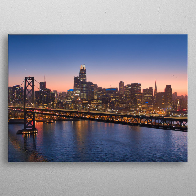 Aerial shot of Bay Bridge in San Francisco at dusk metal poster
