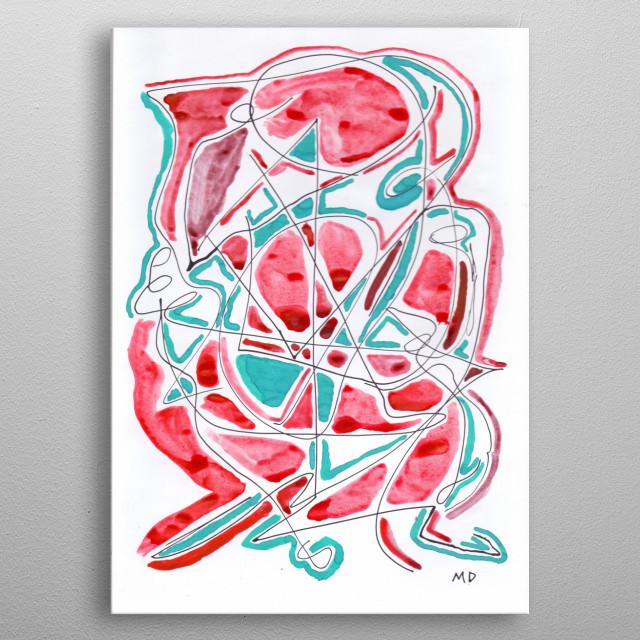 Neo Expressionismo Abstrato Nanquim e guache s/ papel 21 x 29,7 cm 2018 Mauricio Duarte (Divyam Anuragi) metal poster