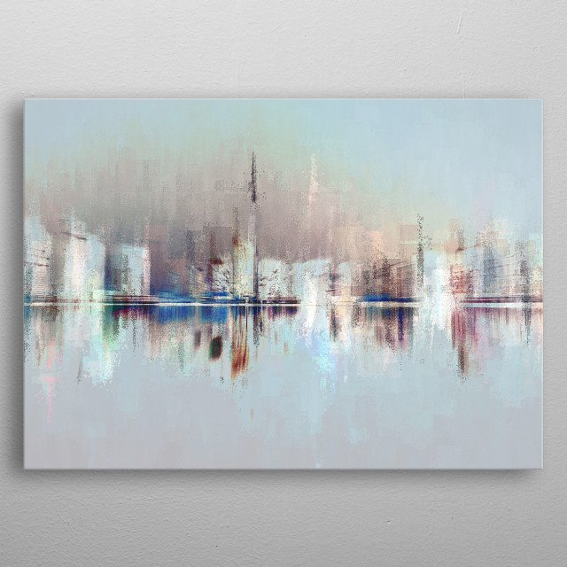 Reversed and layered image of the Dubai city skyline in pastel reflection. Situated on the Persian Gulf coast, it is the largest most popula metal poster